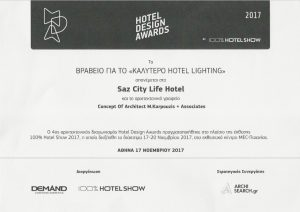 "Award for the ""BEST HOTEL LIGHTING"""